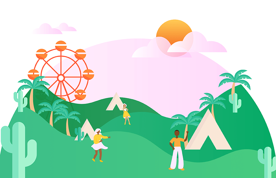 Rolling hills with a Ferris wheel, palm trees, cacti, tents, and people