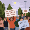 """Students holding signs that read """"We support the Green New Deal"""" and """"Green is Clean"""" and surrounded by trees"""