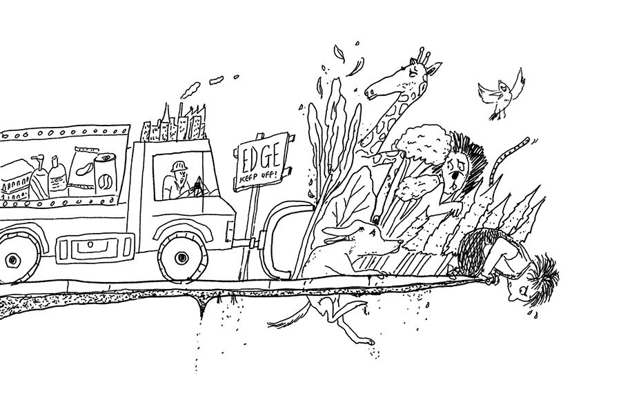 Shel Silverstein's Where the Sidewalk Ends with bulldozer pushing animals and plants off the edge