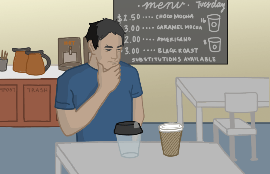 A person at a cafe considering a paper and a plastic cup