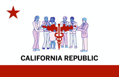 The California flag with a caduceus symbol surrounded by people
