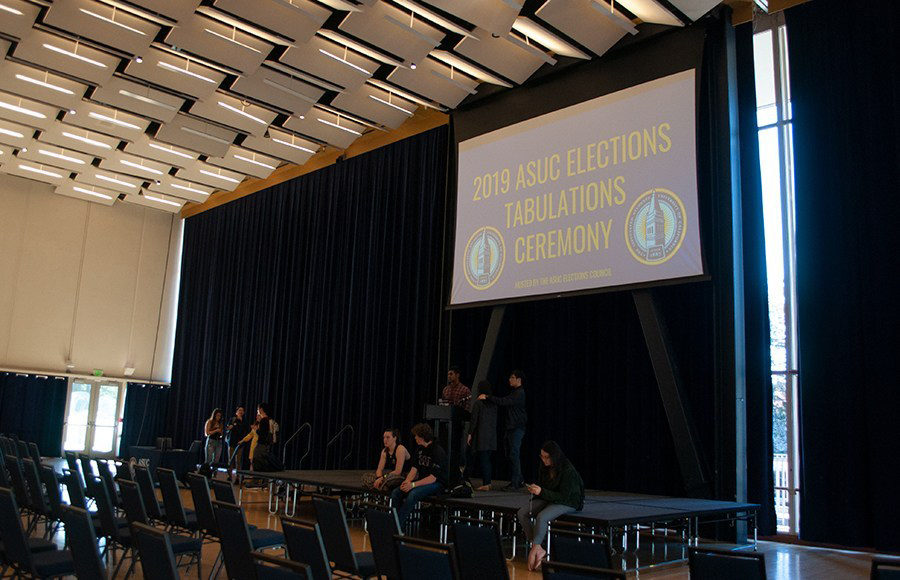 "A room with many chairs and a screen that reads ""2019 ASUC Elections Tabulations Ceremony""."