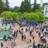 An aerial shot of Sproul plaza while filled with people.