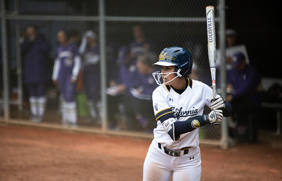Softball player gets ready to swing