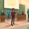 People standing in front of the board and podium in a lecture hall