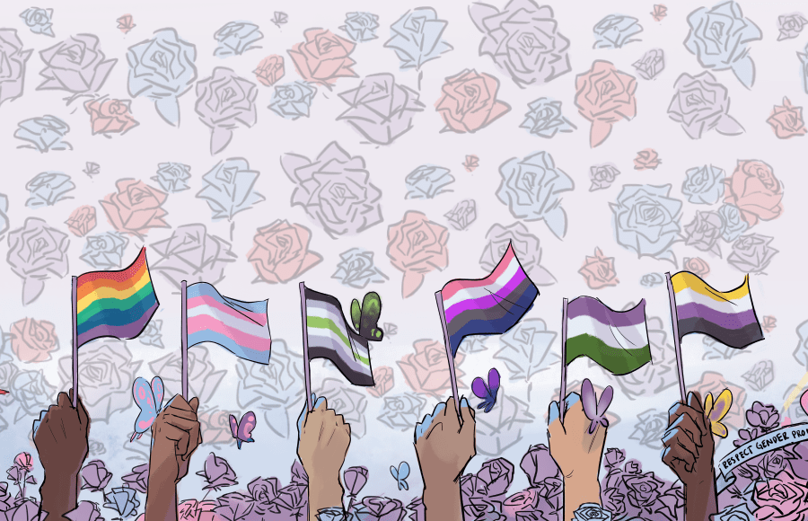 Hands surrounded by flowers hold up flags signifying different gender indentities