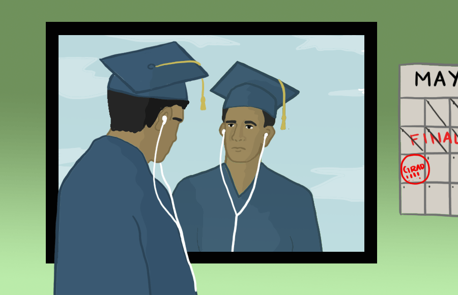 A person with a graduation cap with headphones looking into a mirror