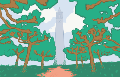 Illustration of the Campanile and trees