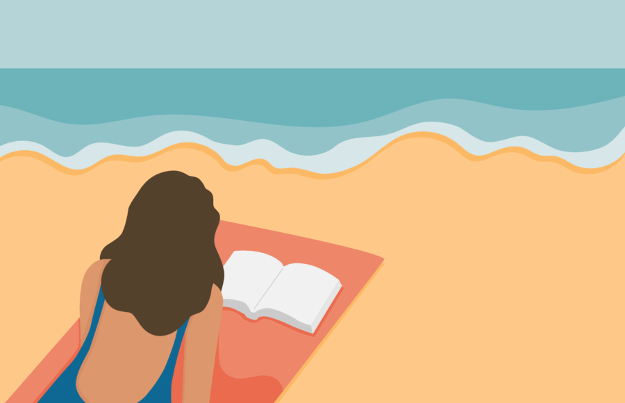 Illustration of a person reading a book at the beach
