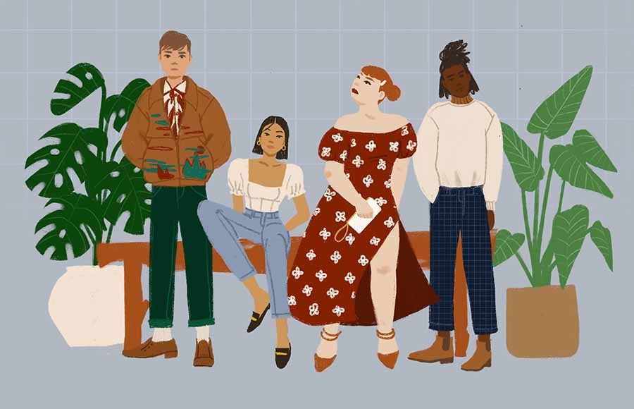 Illustration of people modeling sustainable fashion