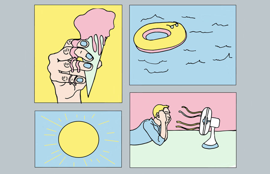 Illustration of a hand holding an ice cream cone, a fan, and a pool
