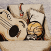 Illustration of box of guitar, basketball, sketchbook, and camera