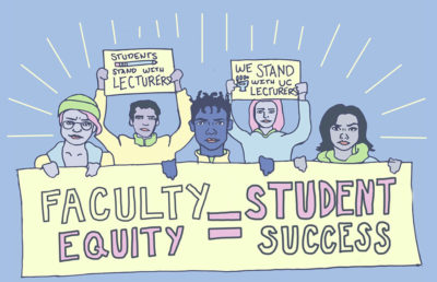 "Illustration of people holding signs that read ""faculty equity=student success"""