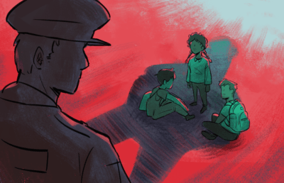Illustration of police officer standing over three young students