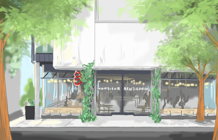 Illustration of front of Monsieur Benjamin restaurant