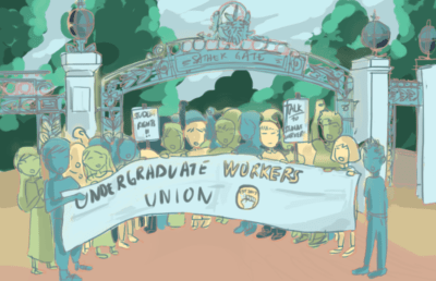 undergraduate workers union protest outside sather gate