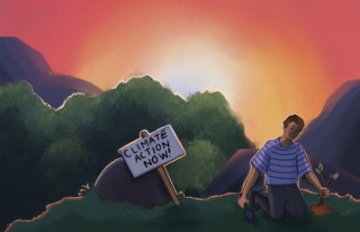 """Illustration of a person planting a tree with a sign that reads """"climate action now"""""""