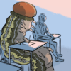 Illustration of giant caterpillar on a desk with a student