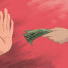Illustration of a hand giving money to another hand