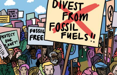 Illustration of protest against fossil fuels