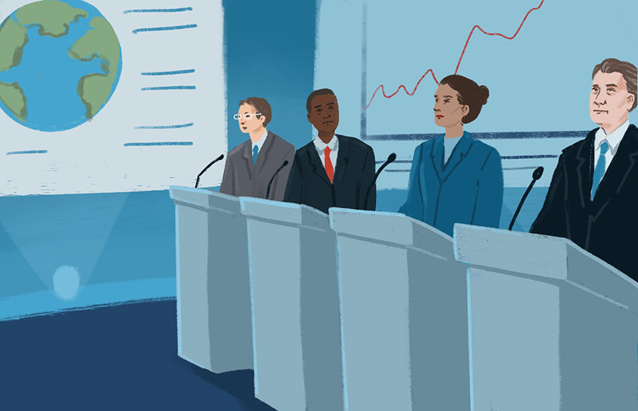 Illustration of Democratic debate on climate change