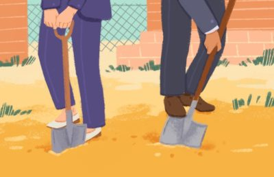 Illustration of two people shoveling dirt