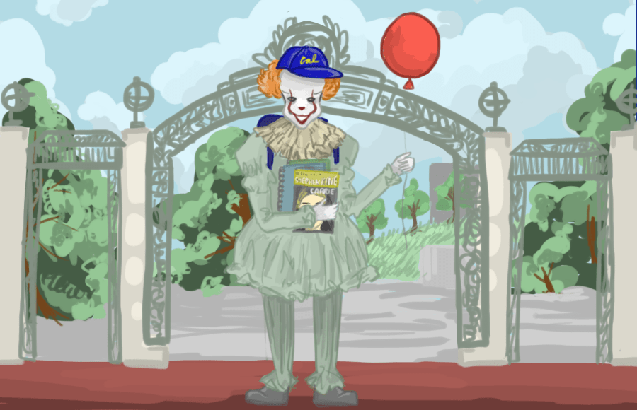 Illustration of Pennywise in front of Sather Gate
