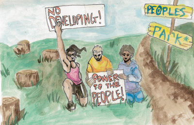 Illustration of protestors at People's Park
