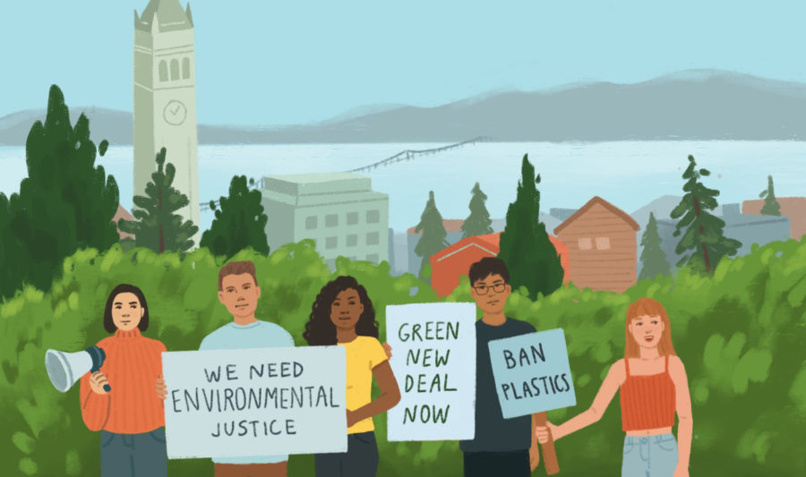 illustration of climate strike on campus