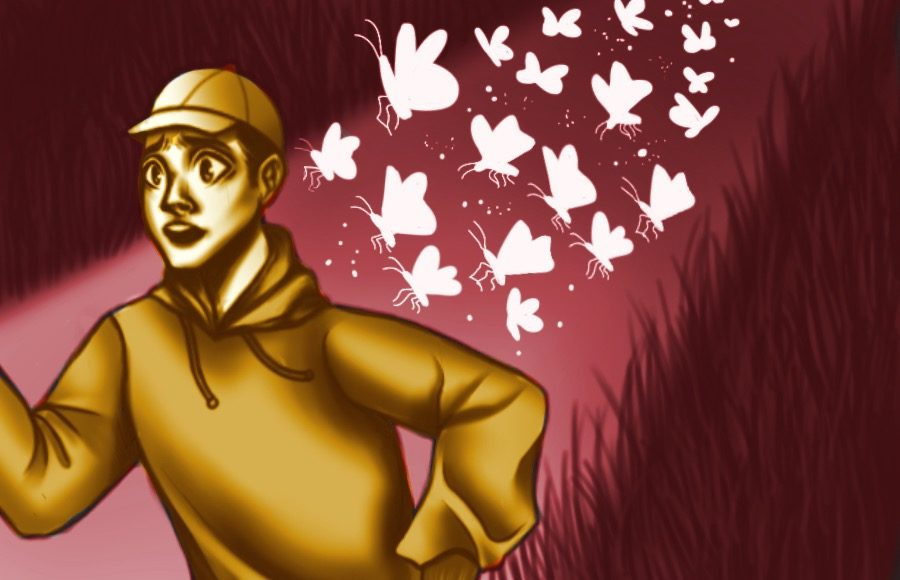 Illustration of person running from moths