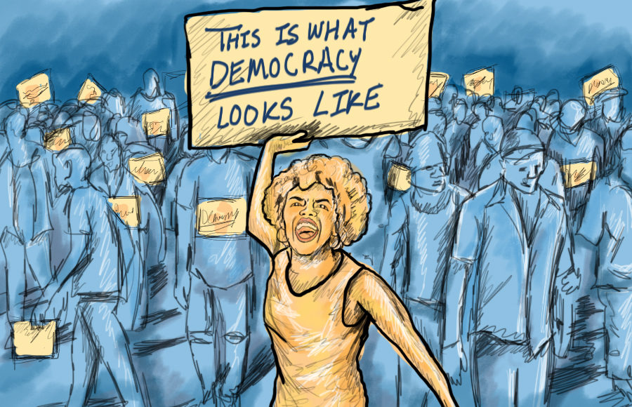 Illustration of protest for democracy