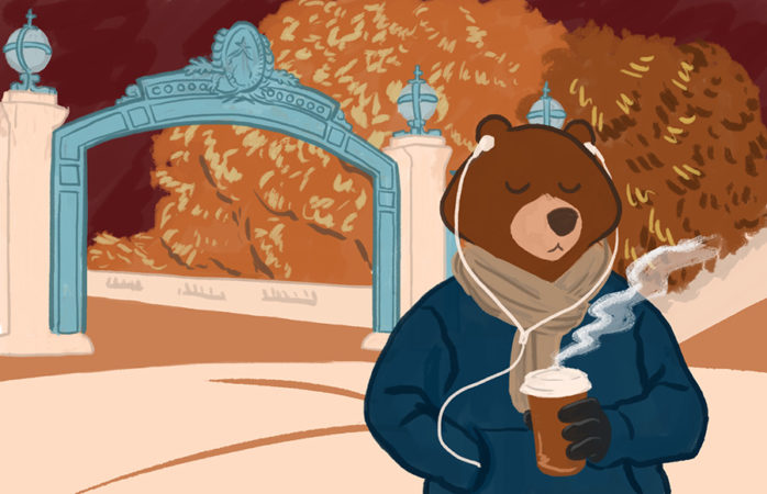 Illustration of a sweater-wearing bear walking, with a coffee cup, through Sproul Plaza and listening to music.