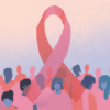 Illustration of pink ribbon and people