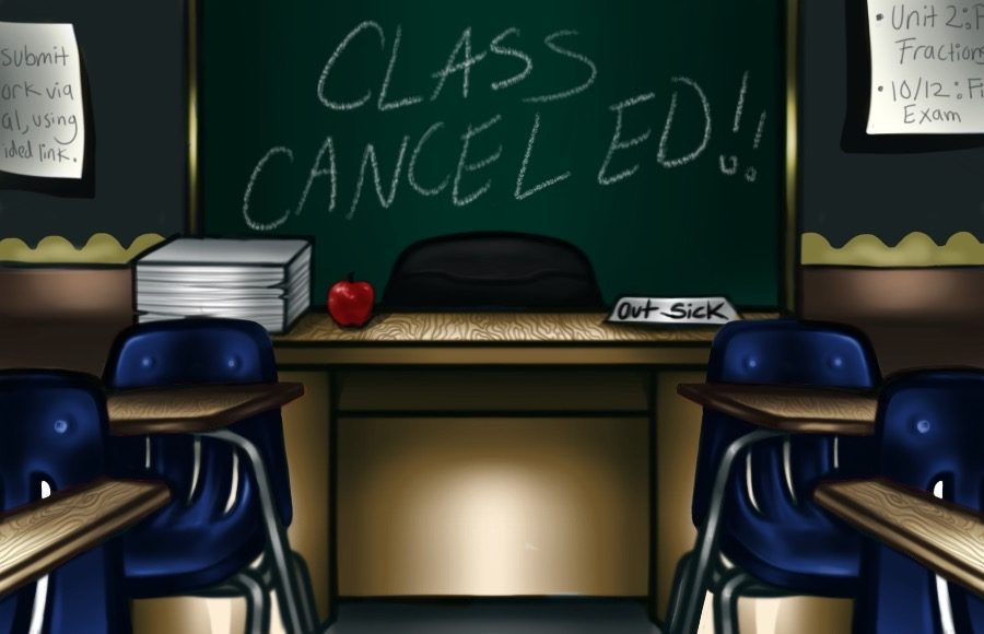"""Illustration of classroom with board that says """"class cancelled"""""""