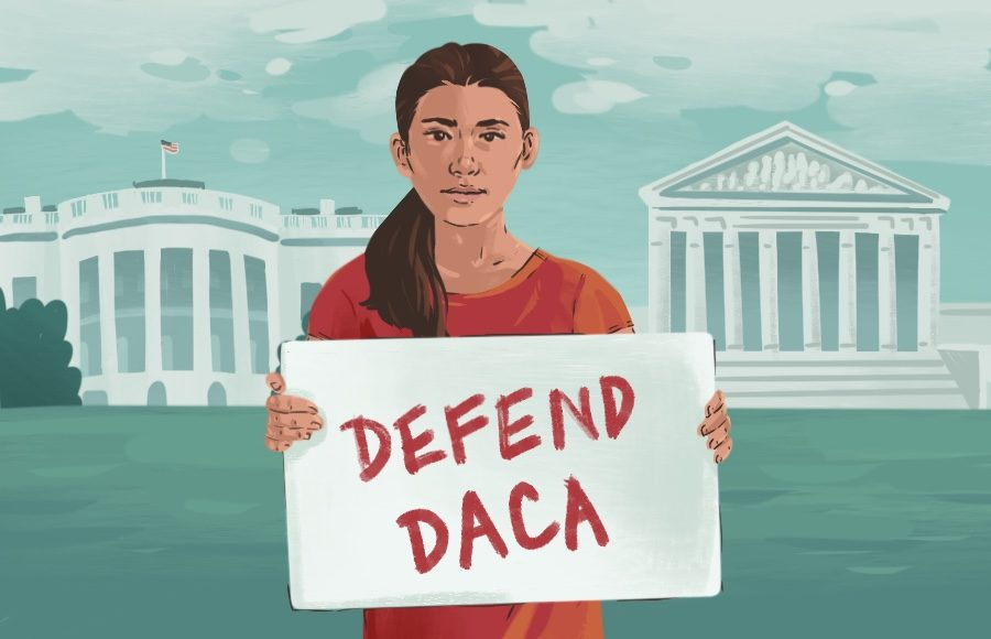 "Illustration of White House and Supreme Court with student carrying sign that says ""defend DACA"""