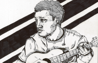 Illustration of concerned guitarist