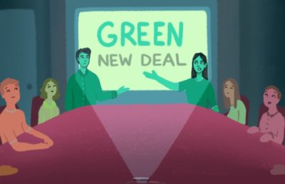 Illustration of people presenting the Green New Deal