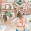 Illustration of person in swimsuit standing in snow