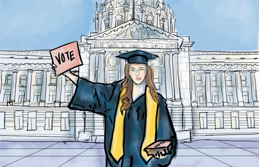 Illustration of a college grad in front of the capitol holding a Vote sign