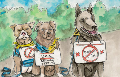 Illustration of dogs with signs