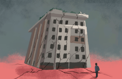 Illustration of decrepit apartment building