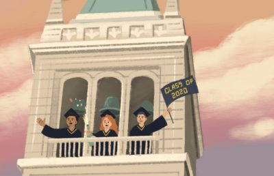 Illustration of graduating students on the Campanile