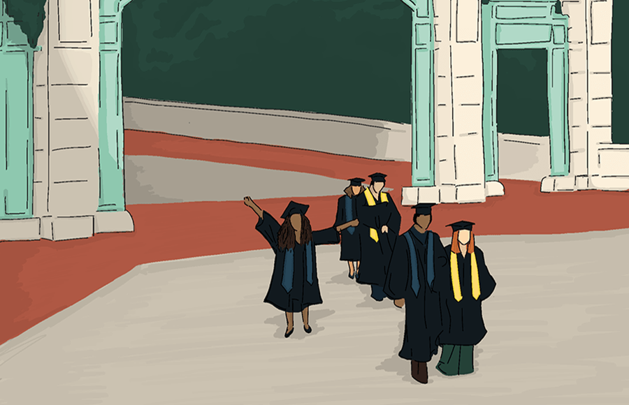 Illustration of graduating students on Sproul