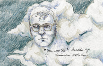 Illustration of Rainn Wilson in a cloud