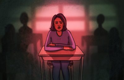 Illustration of stressed student in classroom