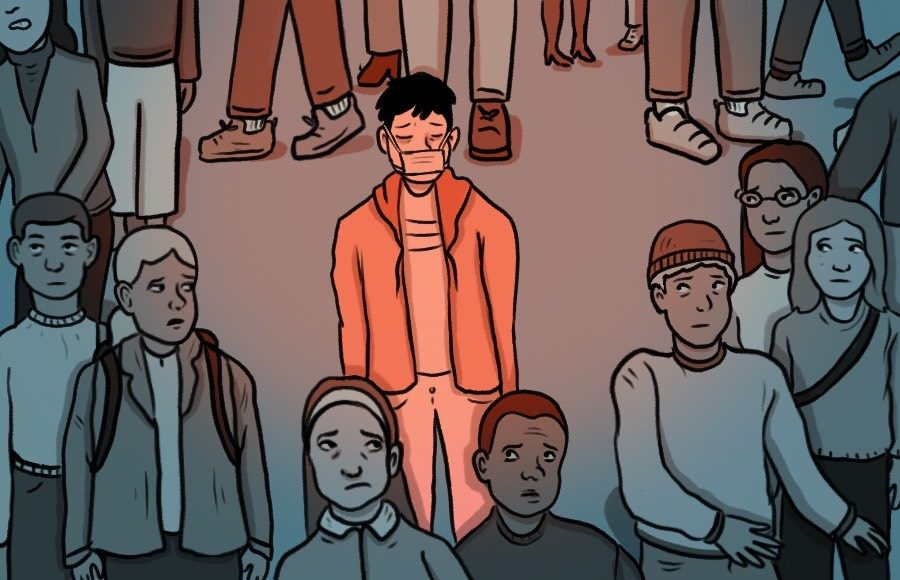 Illustration of person wearing mask in a crowd