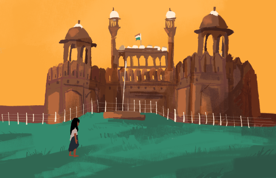 Illustration of person in front of building in India