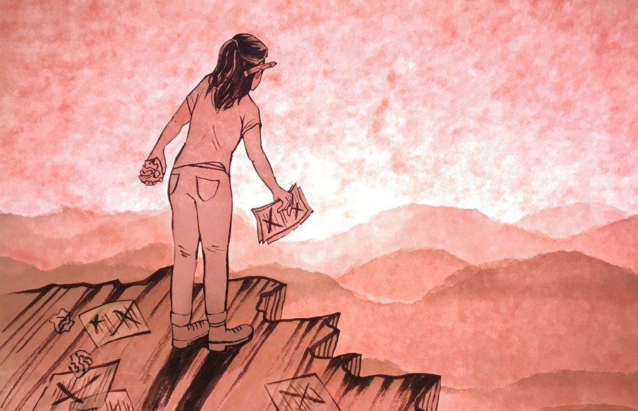 Illustration of person overlooking some hills with papers