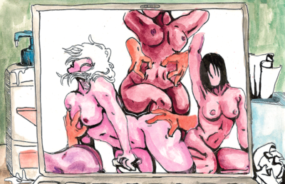 Illustration of pornography on a computer screen