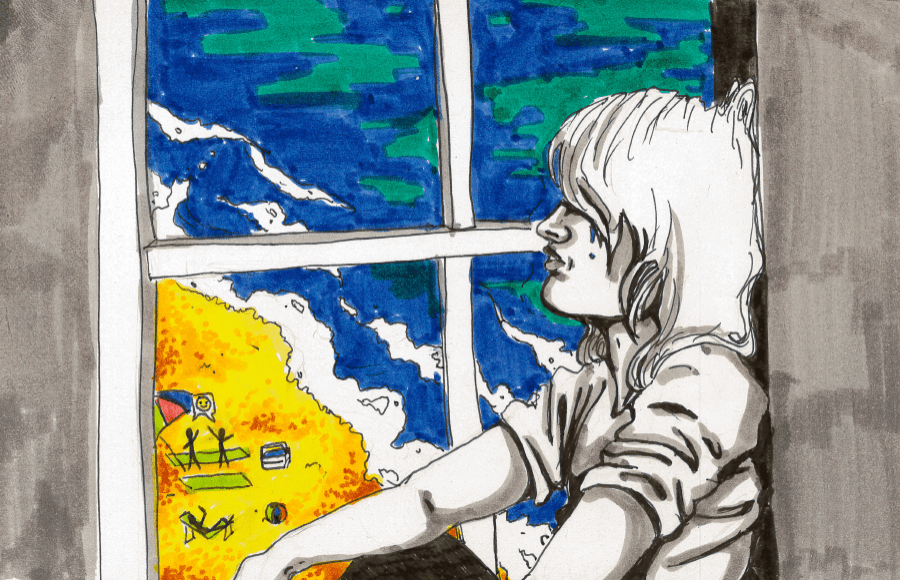 Illustration of sad person looking out of window